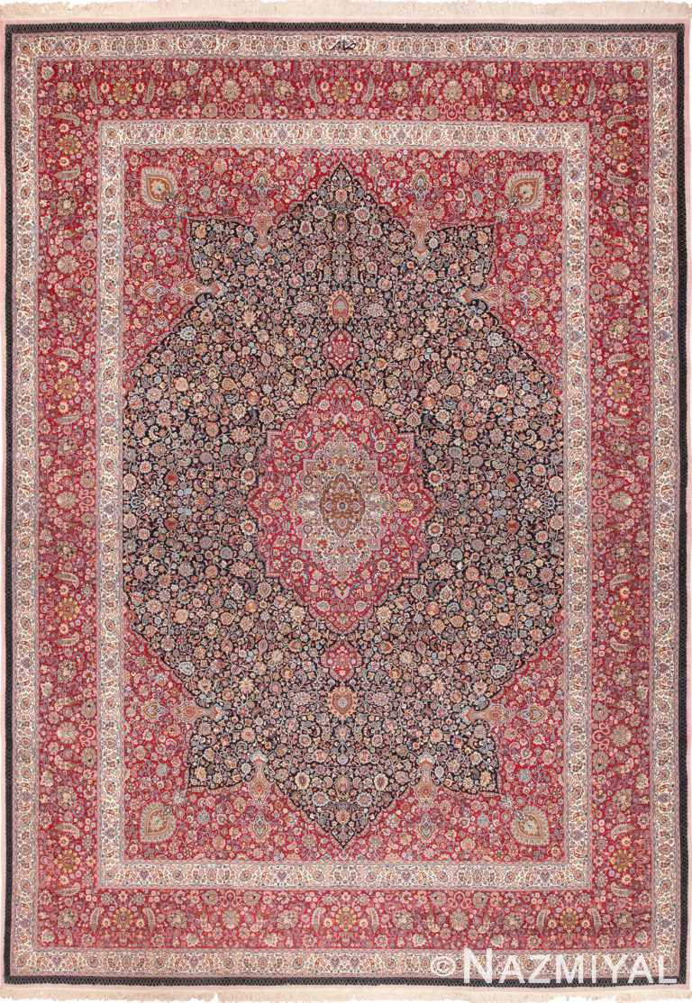 Fine Silk and Wool Saber Vintage Persian Khorassan Rug 60017 by Nazmiyal