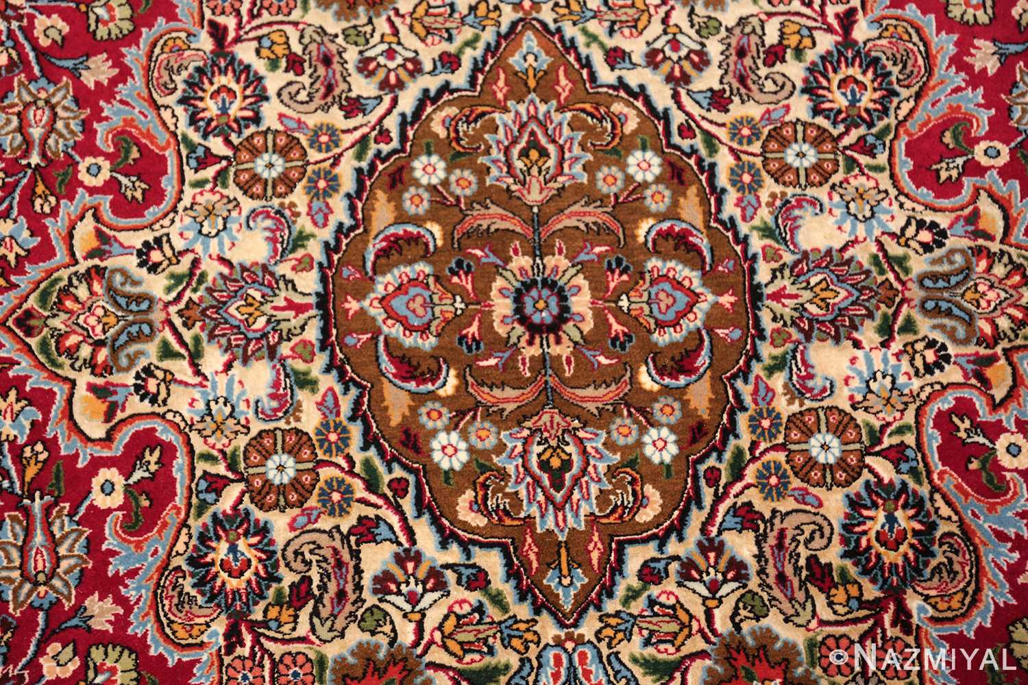 silk and wool vintage khorassan persian rug 60017 brown Nazmiyal