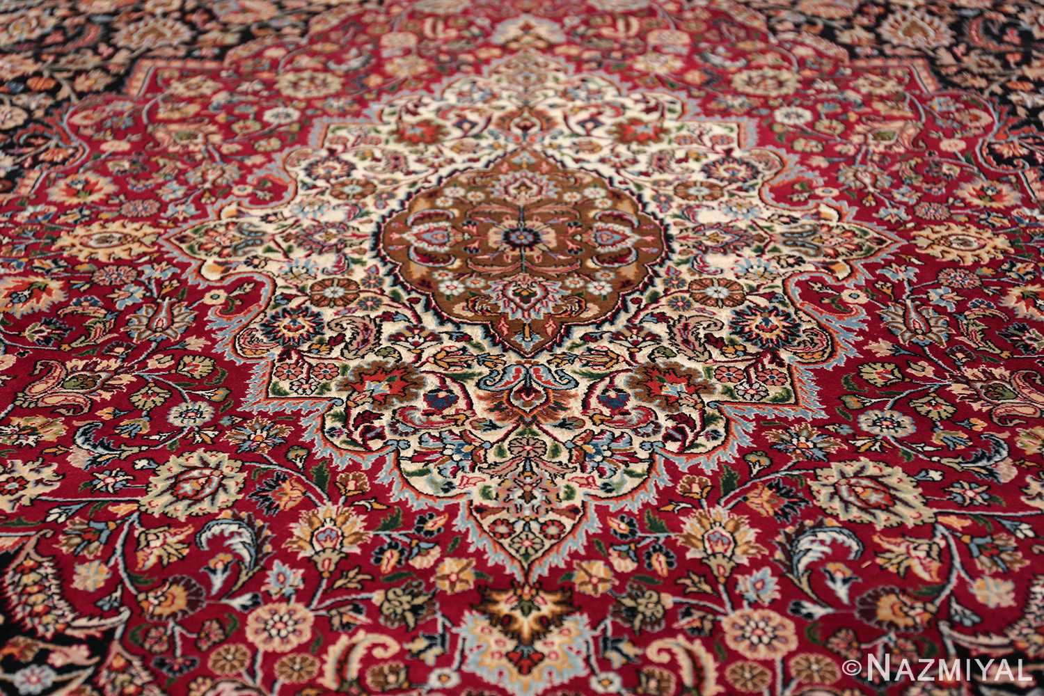silk and wool vintage khorassan persian rug 60017 center Nazmiyal