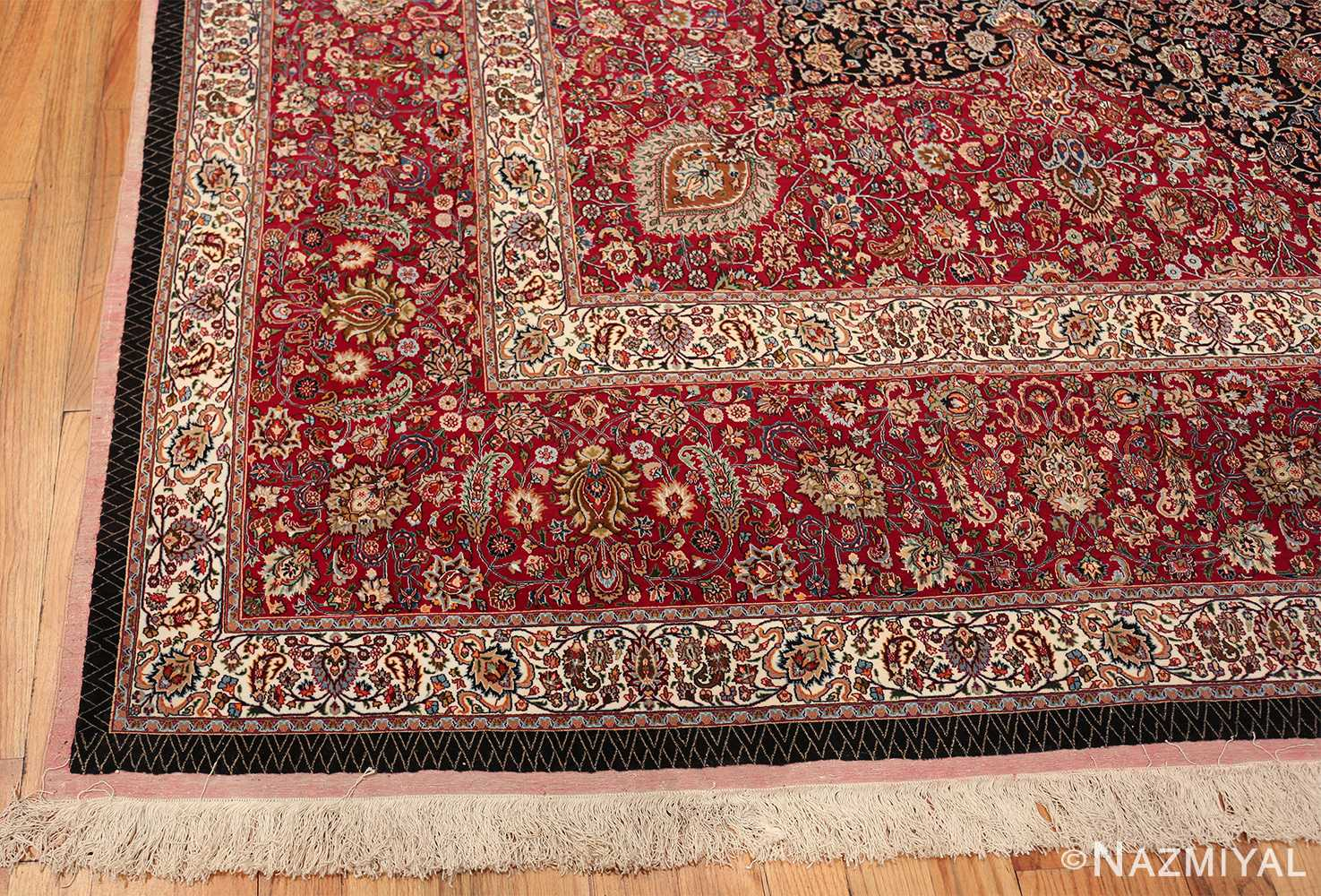 silk and wool vintage khorassan persian rug 60017 corner Nazmiyal