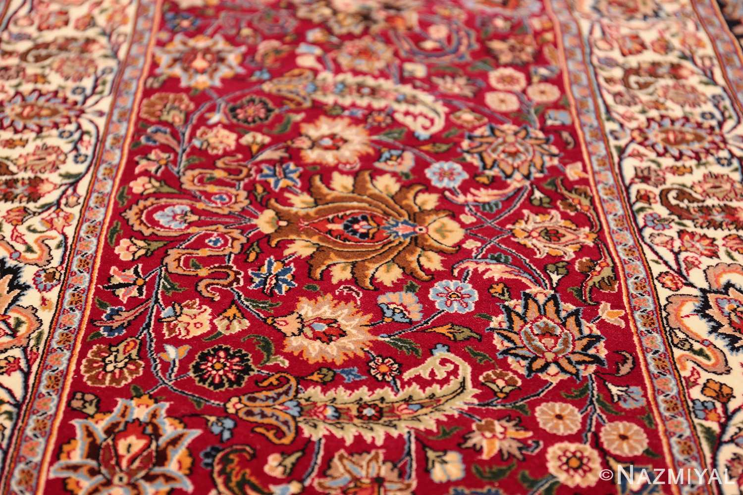 silk and wool vintage khorassan persian rug 60017 flower Nazmiyal
