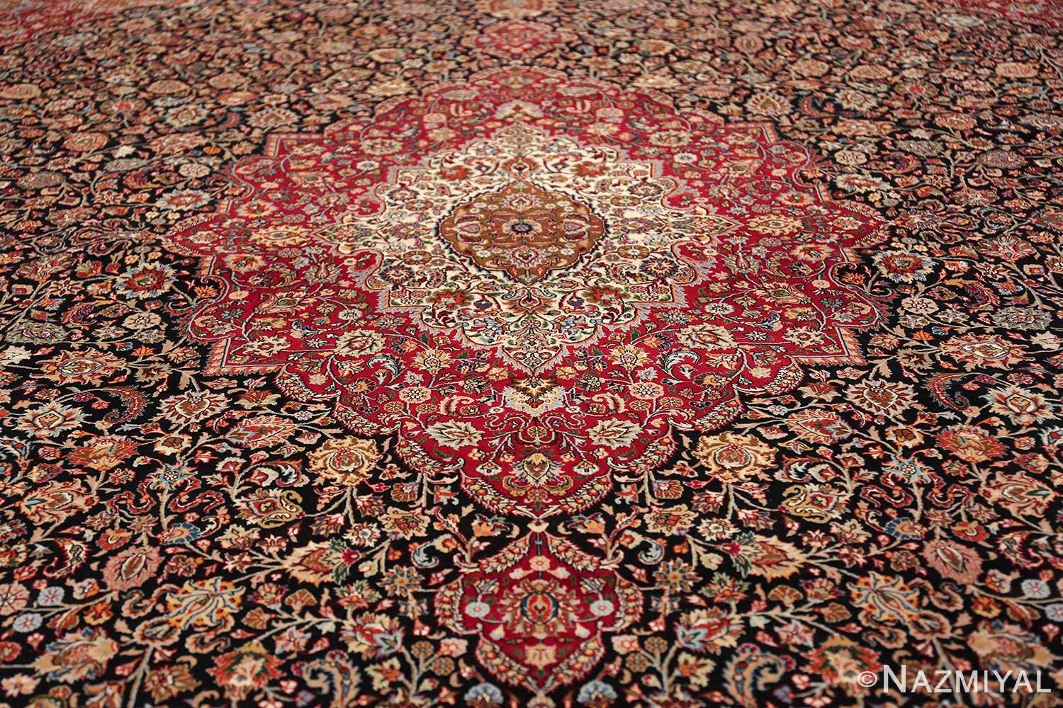 silk and wool vintage khorassan persian rug 60017 medallion Nazmiyal