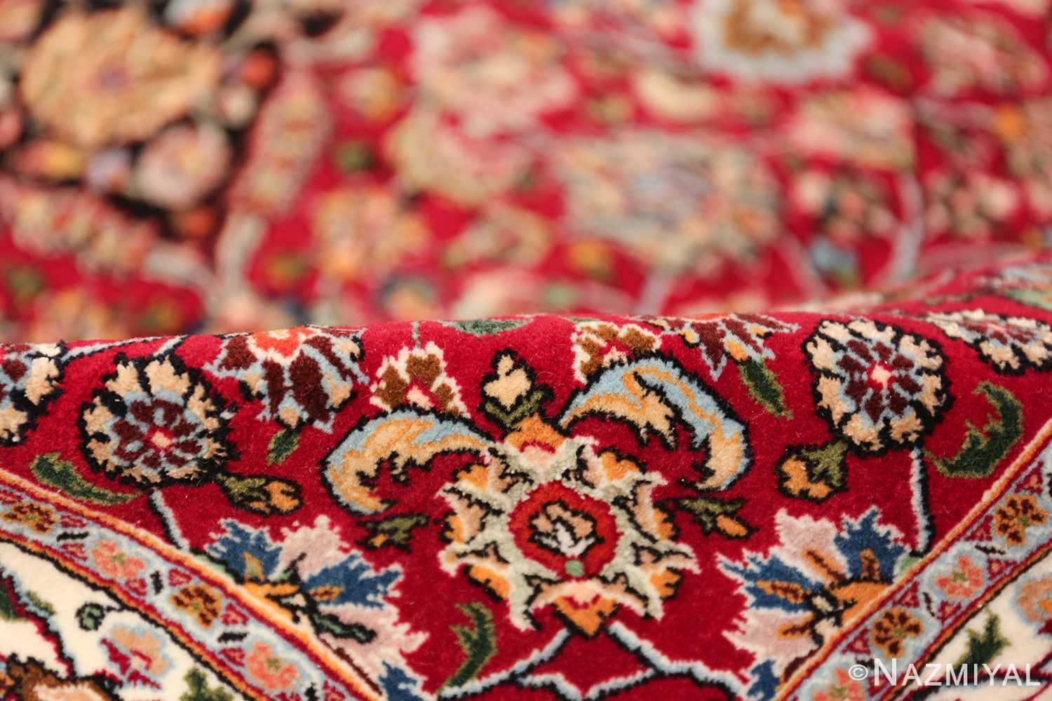 silk and wool vintage khorassan persian rug 60017 pile Nazmiyal