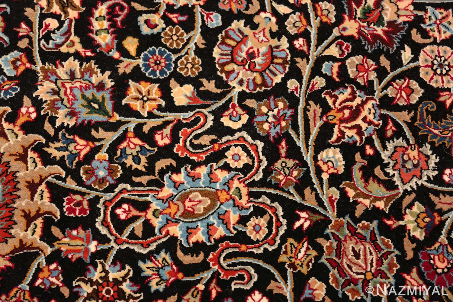 silk and wool vintage khorassan persian rug 60017 scrolls Nazmiyal