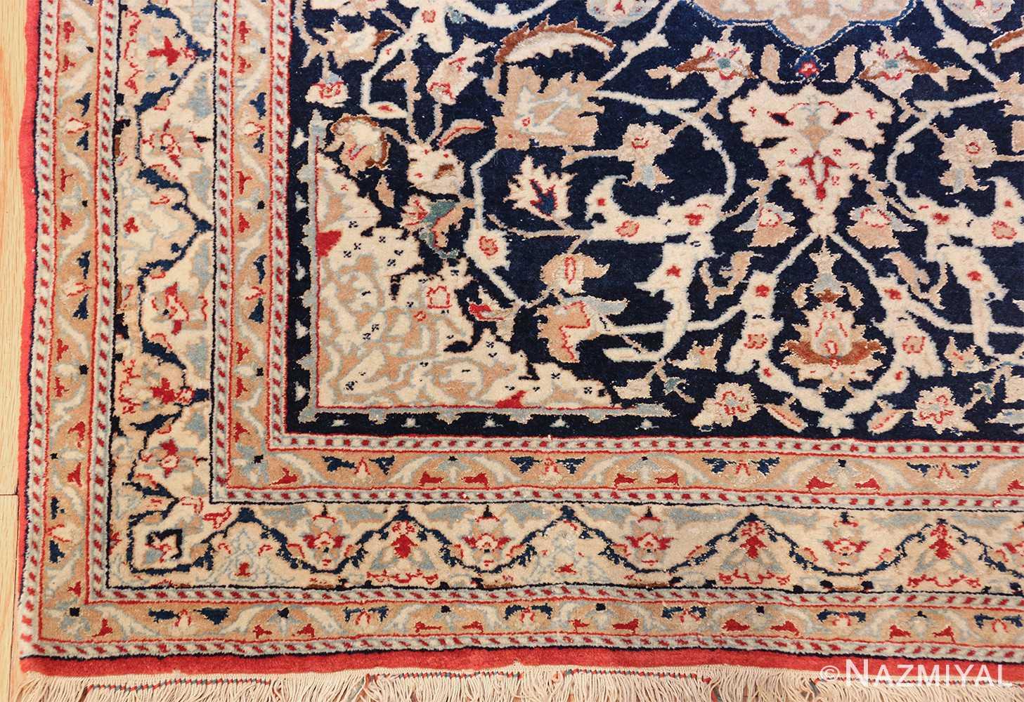 silk and wool vintage nain persian rug 49616 corner Nazmiyal
