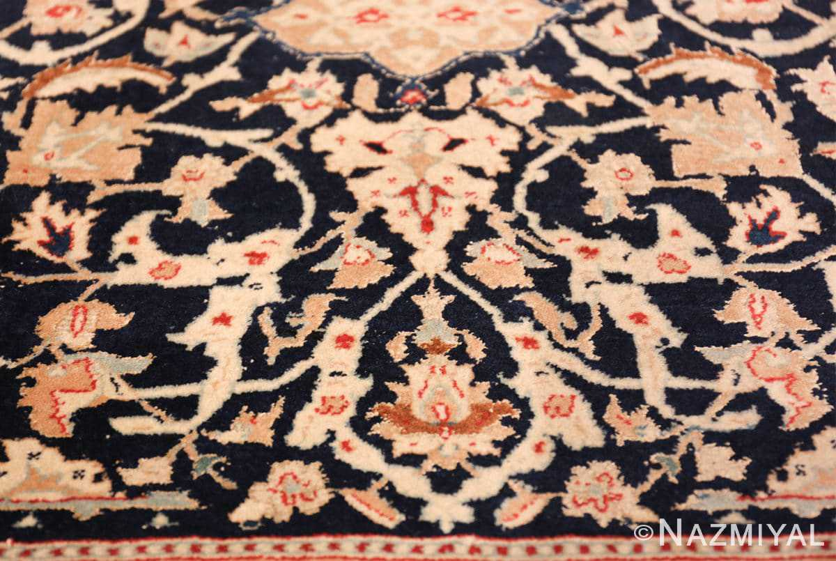 silk and wool vintage nain persian rug 49616 flower Nazmiyal