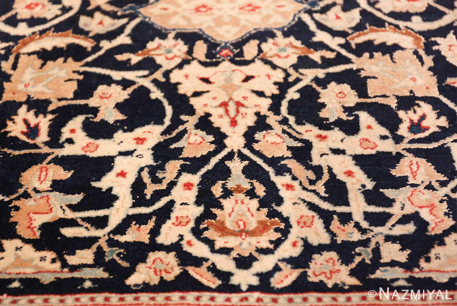silk and wool vintage nain persian rug 49616 flower Nazmiyal