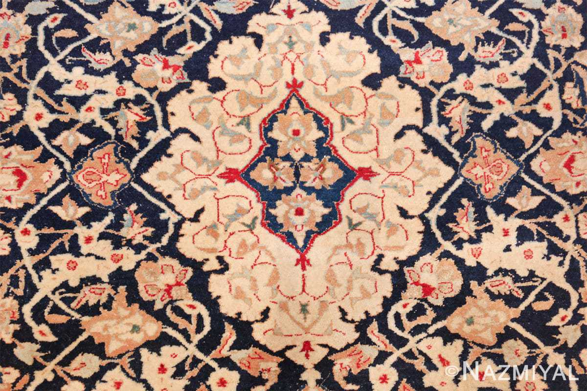 silk and wool vintage nain persian rug 49616 medallion Nazmiyal