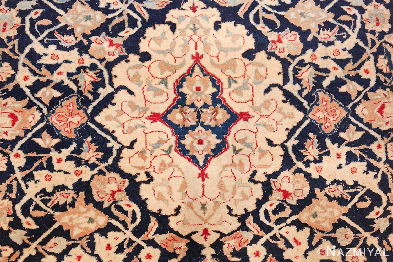 silk and wool vintage nain persian rug 49616 medallion Nazmiyal