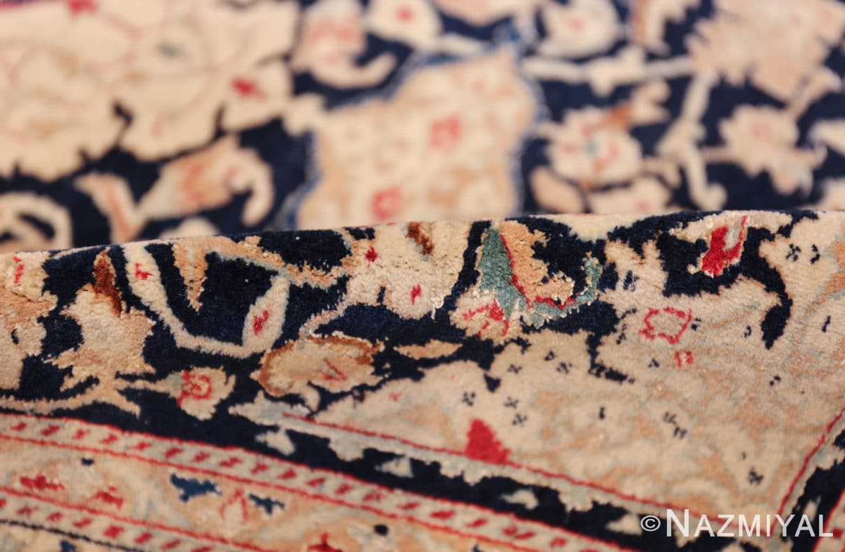 silk and wool vintage nain persian rug 49616 pile Nazmiyal