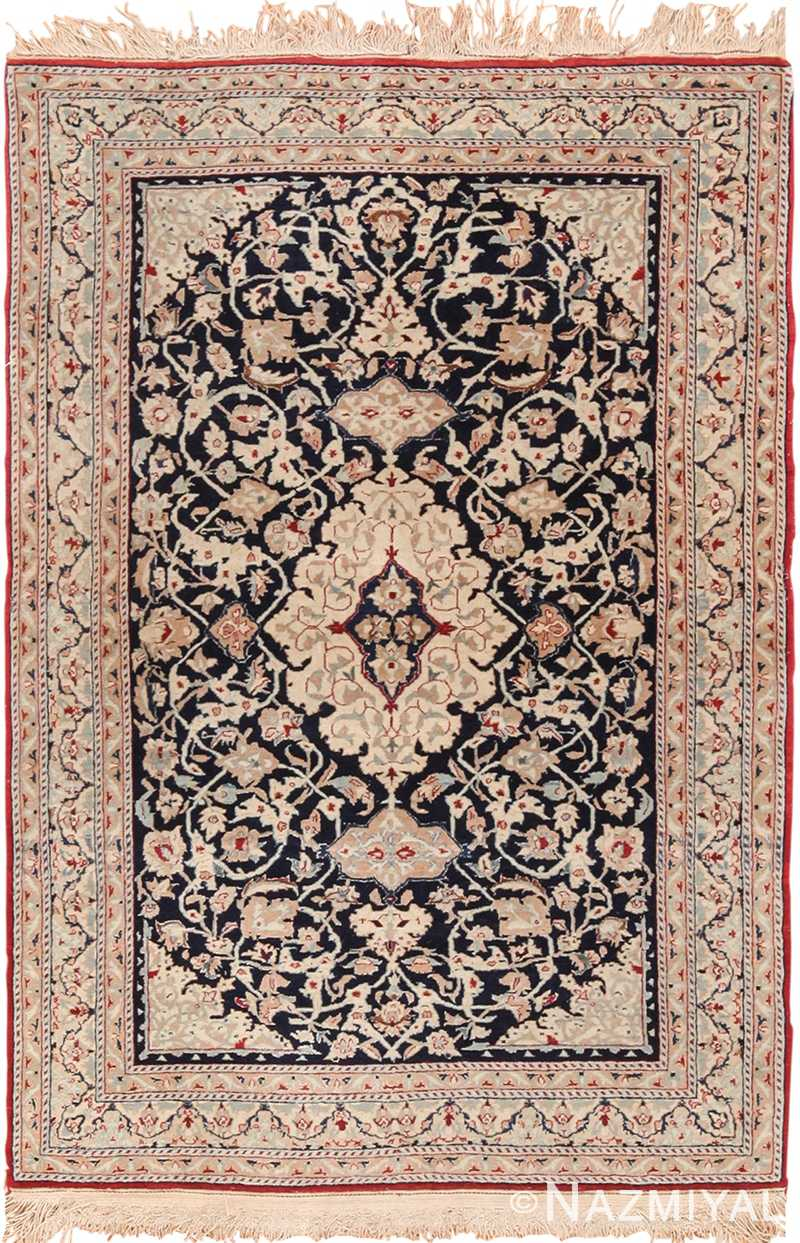 Small Scatter Size Vintage Silk and Wool Persian Nain Rug 49616 by Nazmiyal