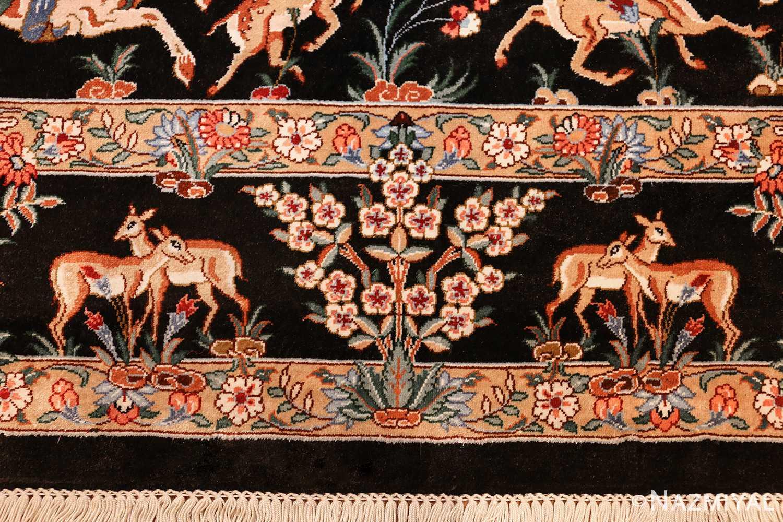 silk hunting scene vintage qum persian rug 49624 border Nazmiyal