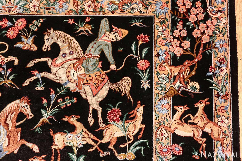 silk hunting scene vintage qum persian rug 49624 bow Nazmiyal