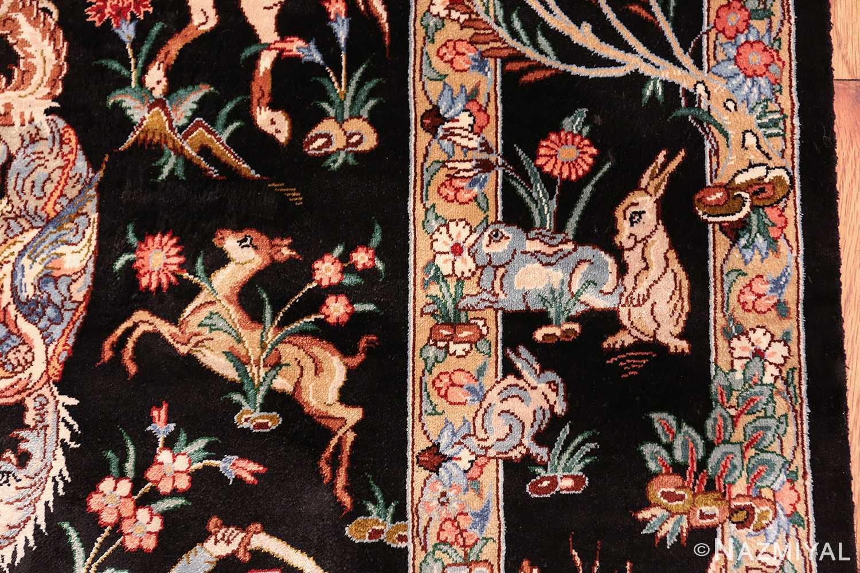 silk hunting scene vintage qum persian rug 49624 bunnies Nazmiyal