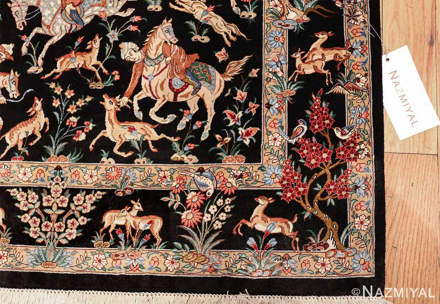 silk hunting scene vintage qum persian rug 49624 corner Nazmiyal