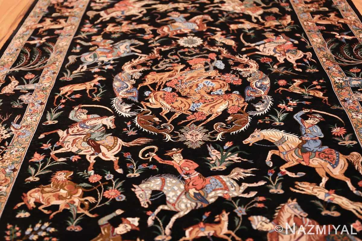 silk hunting scene vintage qum persian rug 49624 field Nazmiyal