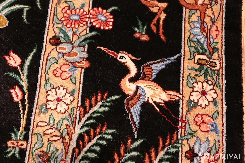 silk hunting scene vintage qum persian rug 49624 flying Nazmiyal