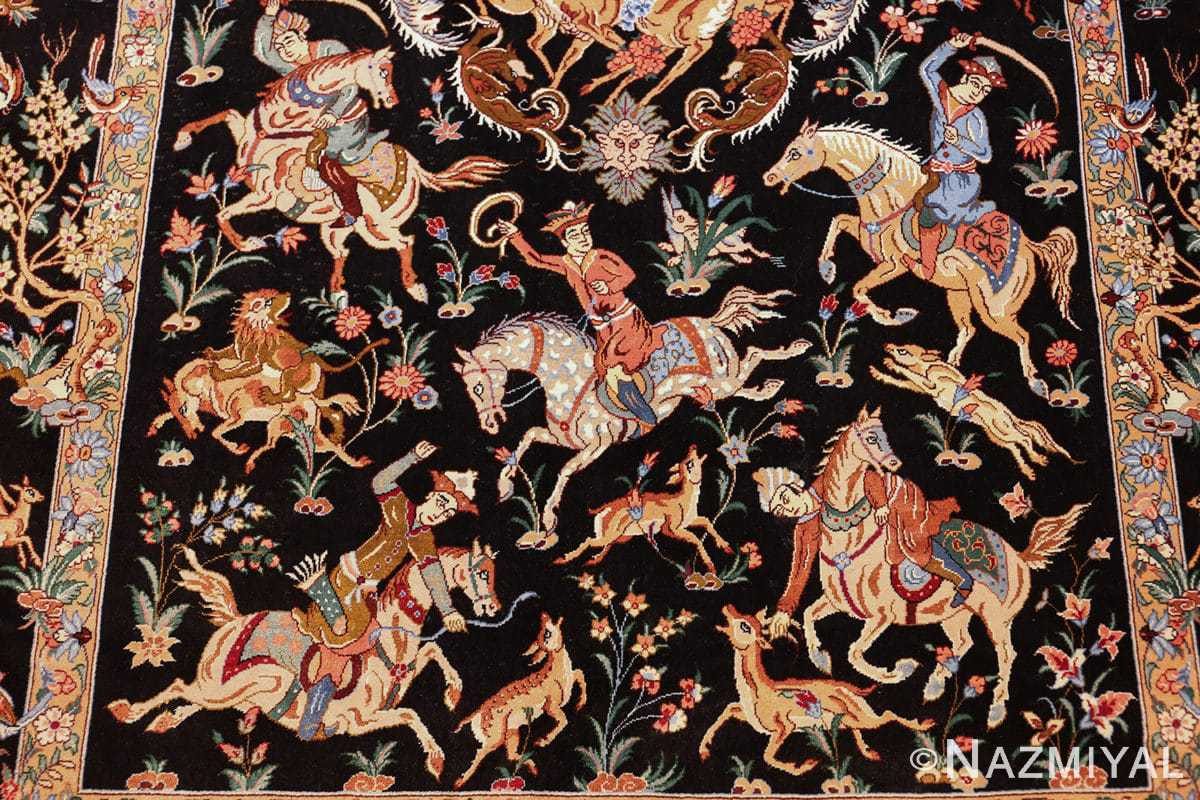 silk hunting scene vintage qum persian rug 49624 hunters Nazmiyal
