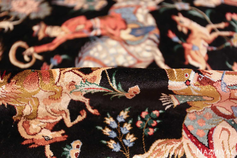 silk hunting scene vintage qum persian rug 49624 pile Nazmiyal