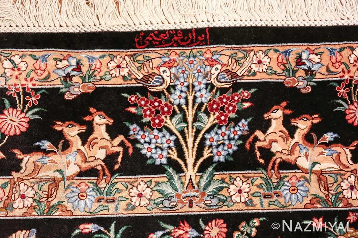 silk hunting scene vintage qum persian rug 49624 signature Nazmiyal
