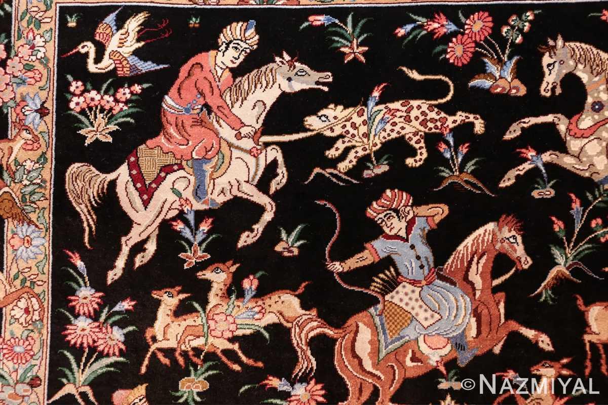silk hunting scene vintage qum persian rug 49624 sword Nazmiyal