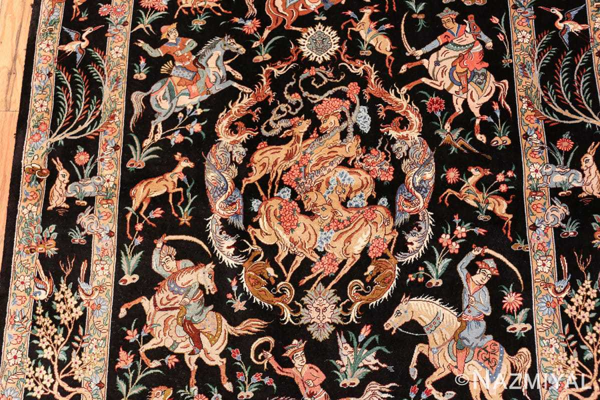 silk hunting scene vintage qum persian rug 49624 top Nazmiyal