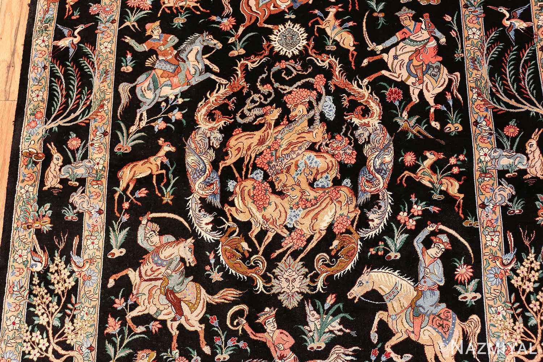 silk hunting scene vintage qum persian rug 49624 top Nazmiyal