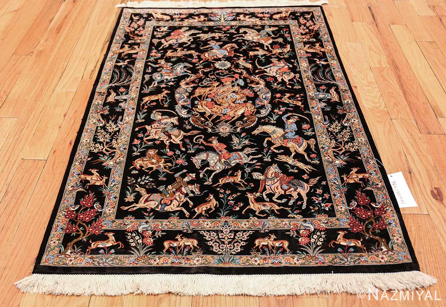 Small Black Hunting Scene Vintage Persian Silk Qum Rug