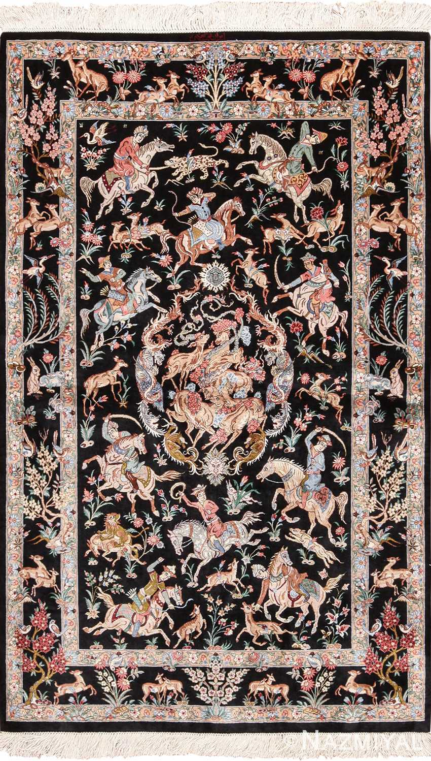 Small Hunting Scene Vintage Persian Silk Qum Rug 49624 by Nazmiyal