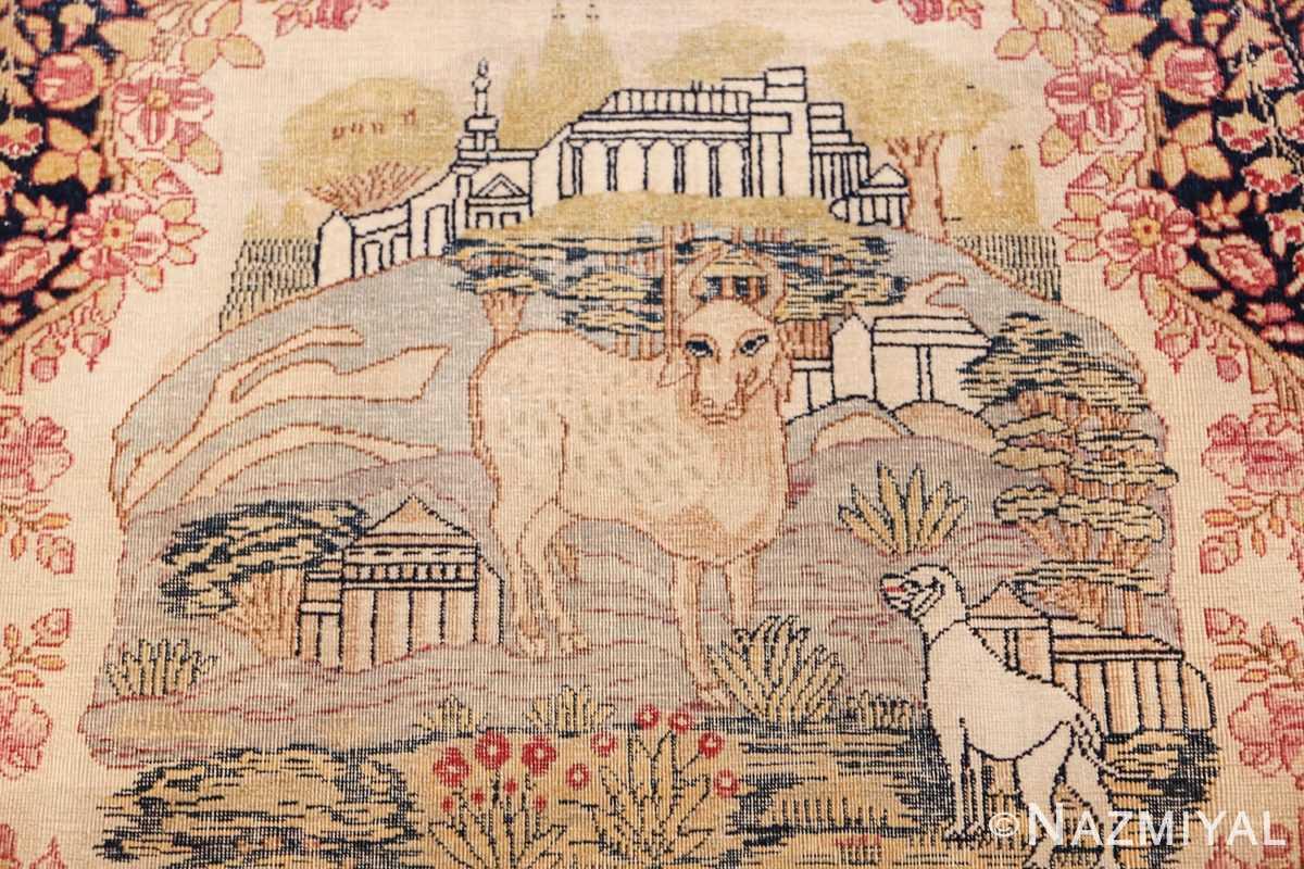 small size antique kerman persian rug 49604 cow Nazmiyal