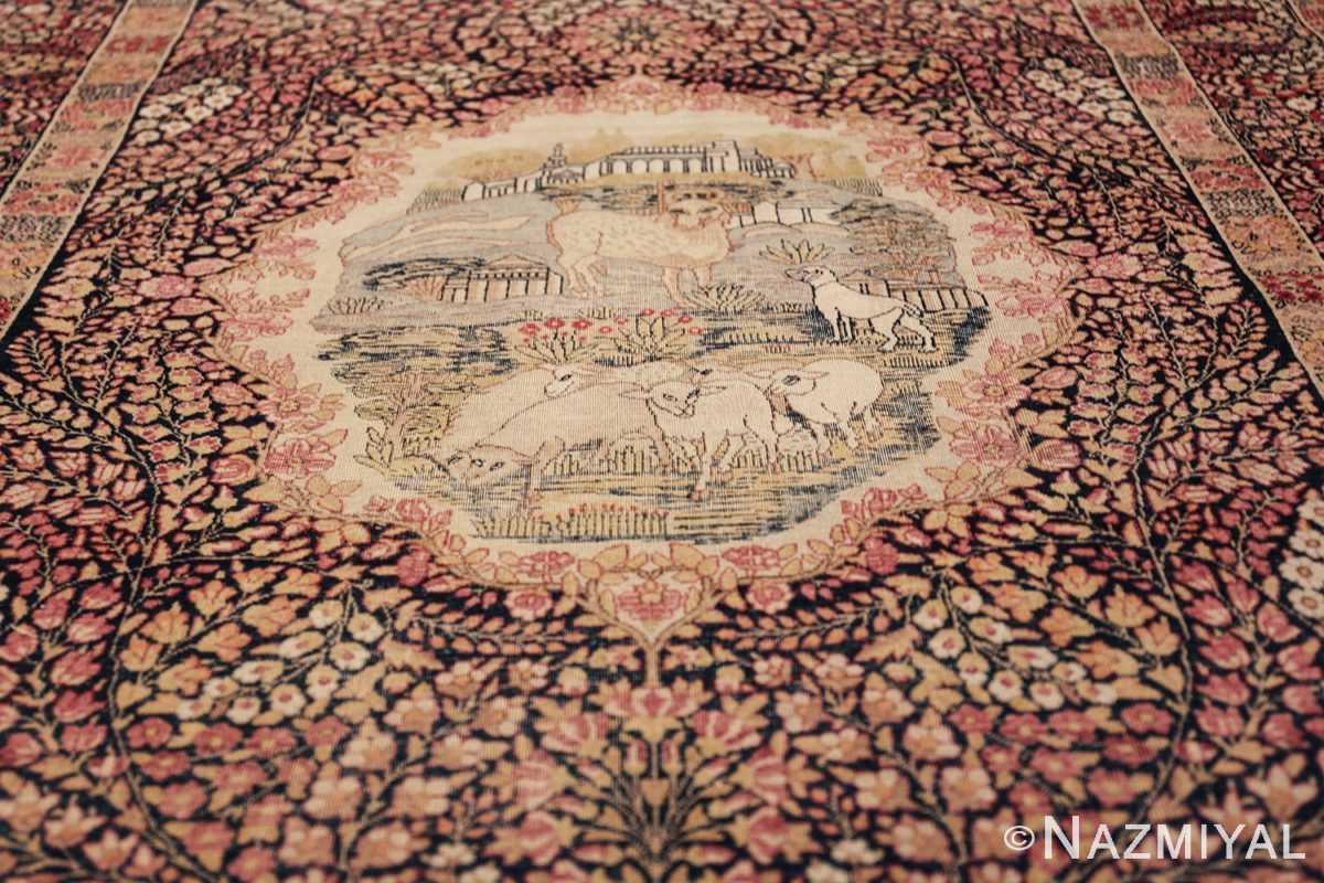 small size antique kerman persian rug 49604 field Nazmiyal