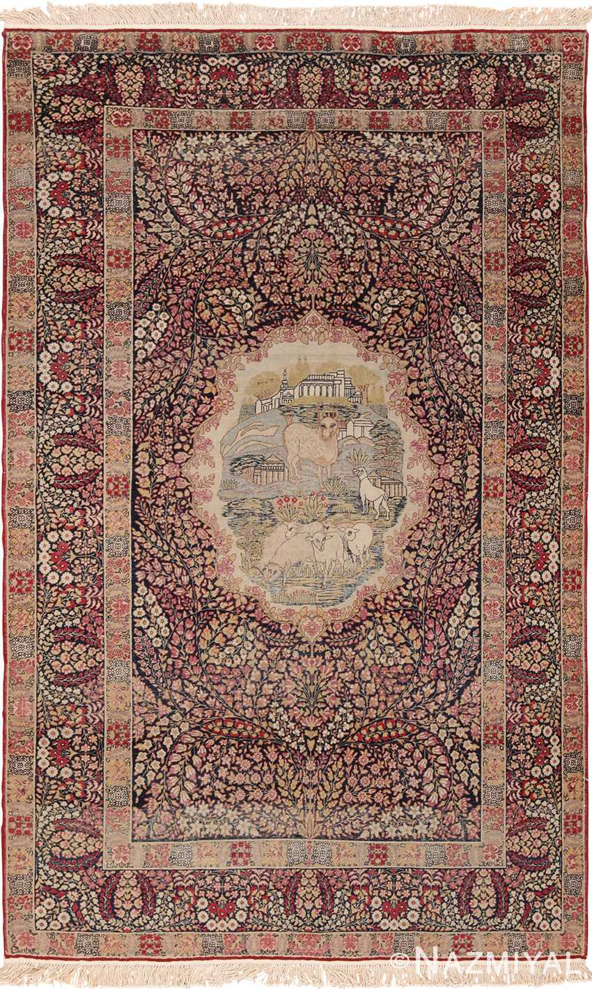 Small Size Antique Pictorial Persian Kerman Rug 49604 by Nazmiyal