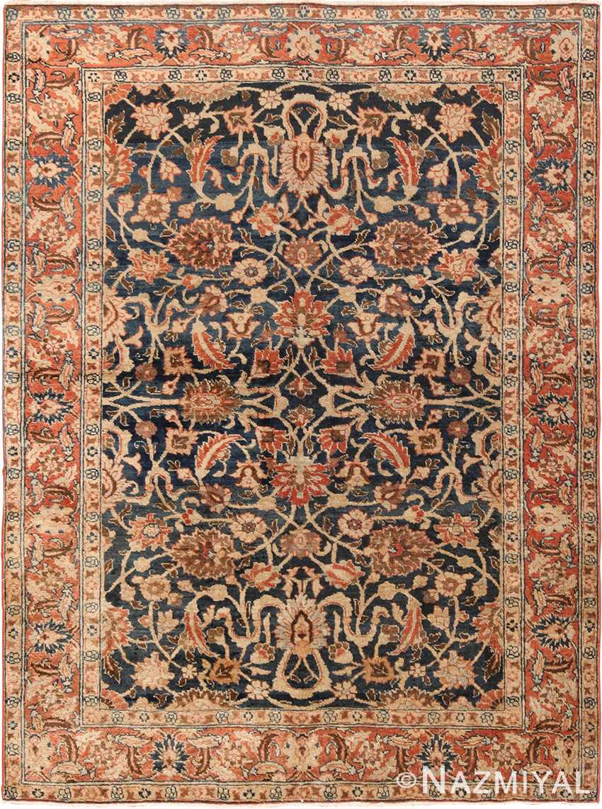 Small Size Blue Background Antique Persian Tabriz Rug 49646 by Nazmiyal Persian Rugs