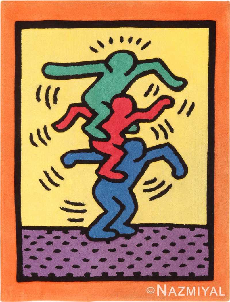 Small Size Vintage Keith Haring Balancing Figures Art Rug 49660 by Nazmiyal