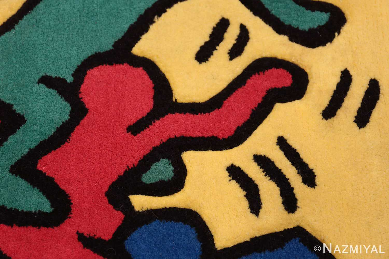 small size vintage american rug designed by keith haring 49660 red Nazmiyal