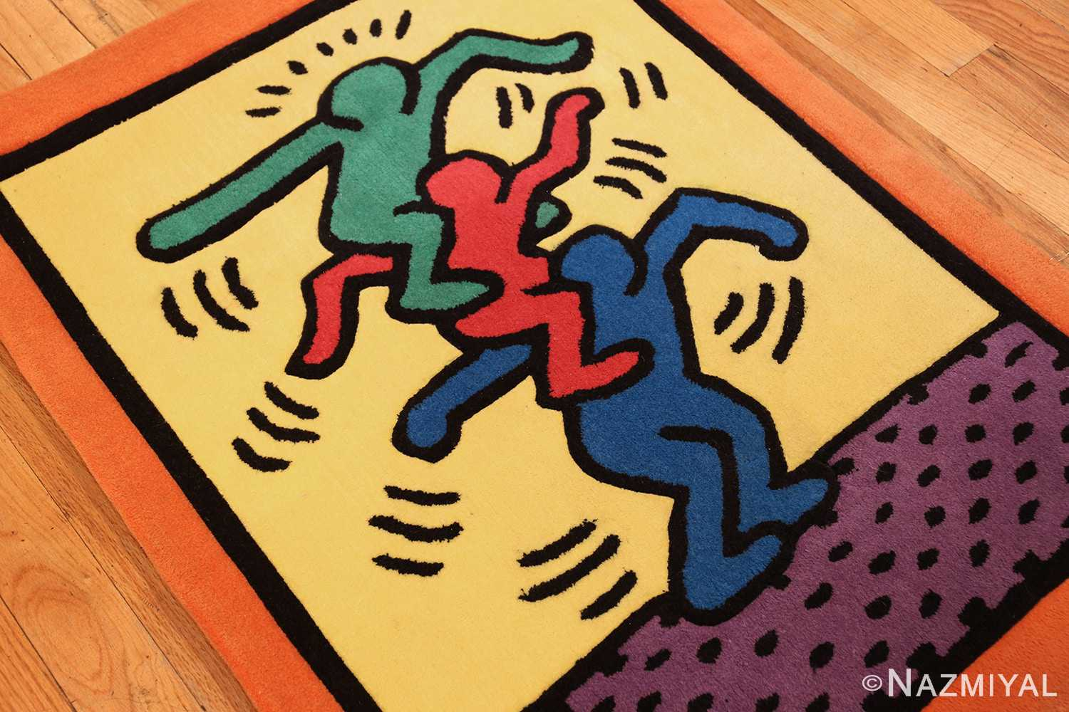 small size vintage american rug designed by keith haring 49660 side Nazmiyal
