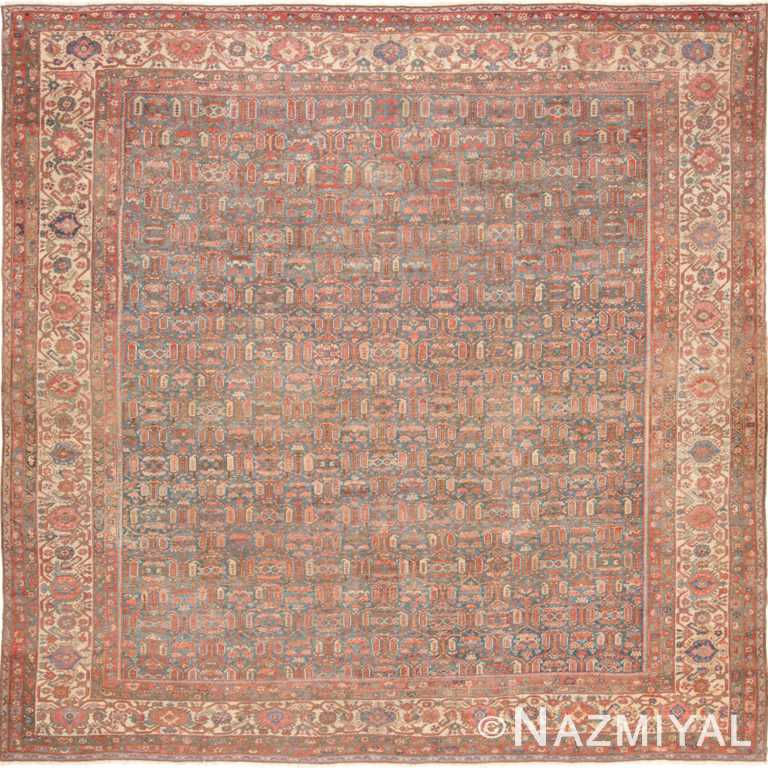Square Light Blue Antique Persian Bakshaish Rug 49656 by Nazmiyal