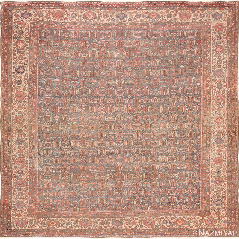 Vintage Persian Rugs: Square Light Blue Antique Persian Bakshaish Rug 49656 By