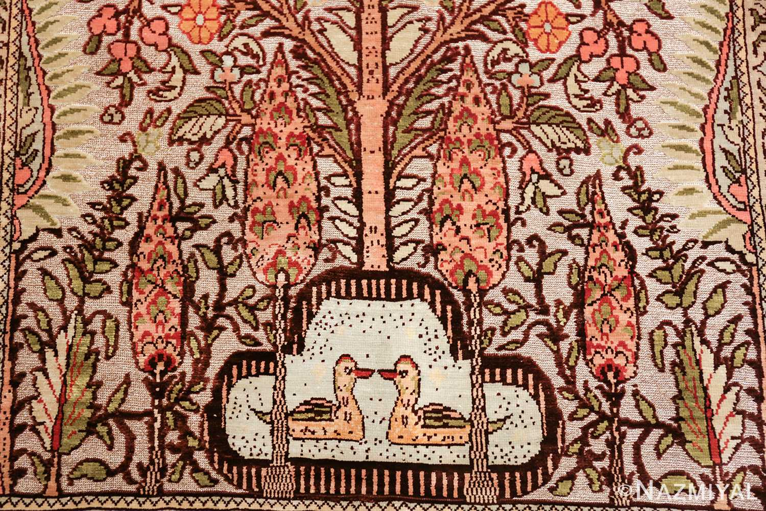 tree of life silk and metallic souf hereke turkish prayer rug 49612 ducks Nazmiyal