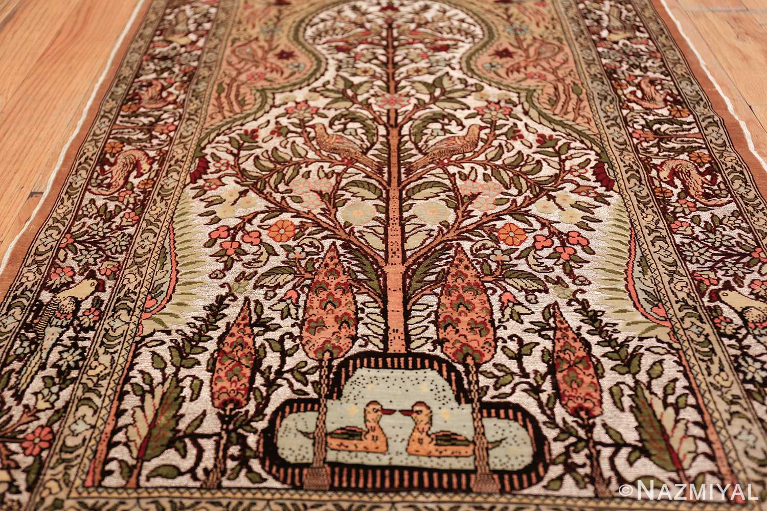 tree of life silk and metallic souf hereke turkish prayer rug 49612 field Nazmiyal