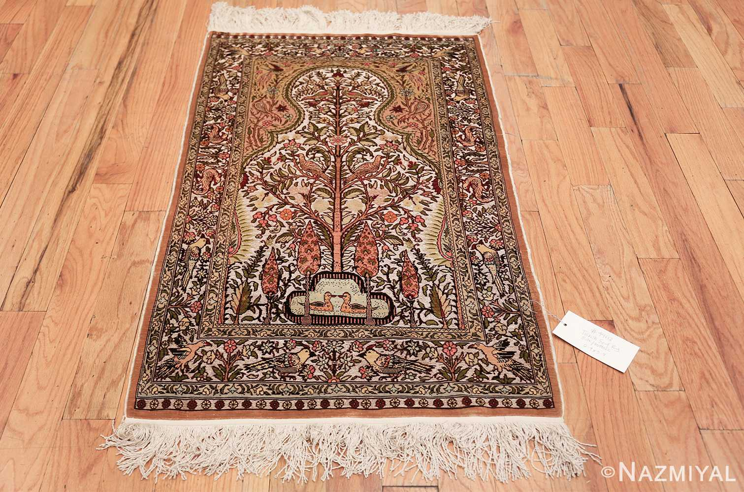 tree of life silk and metallic souf hereke turkish prayer rug 49612 whole Nazmiyal