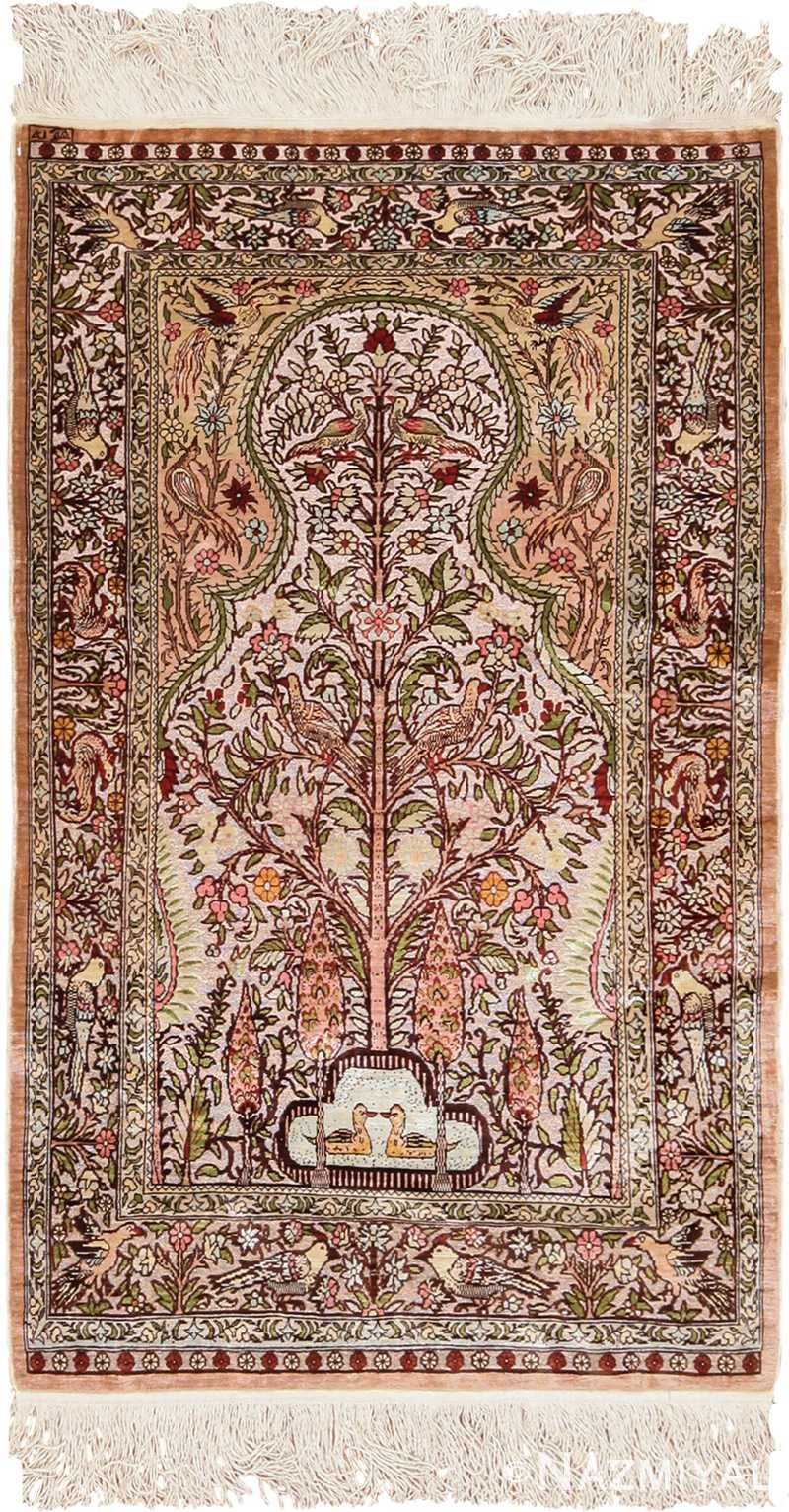 Metallic and Silk Souf Tree of Life Design Hereke Turkish Prayer Rug 49612 by nazmiyal