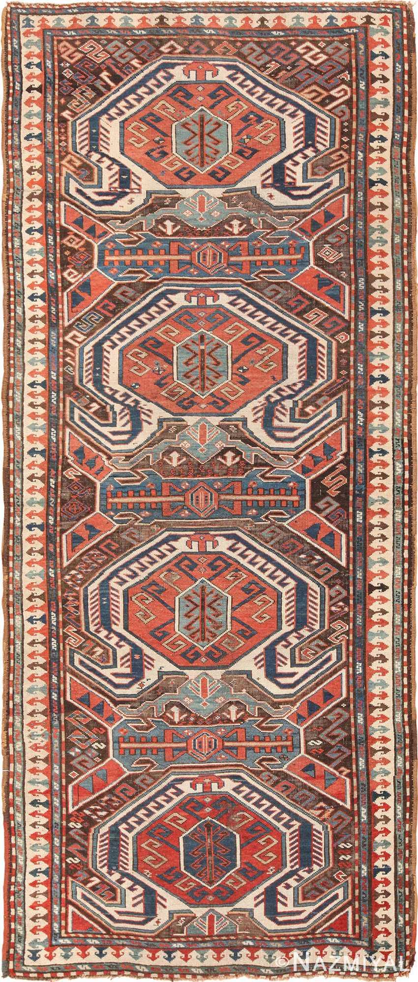 Long And Narrow Antique Caucasian Turtle Kazak Rug 49644 Nazmiyal Rugs