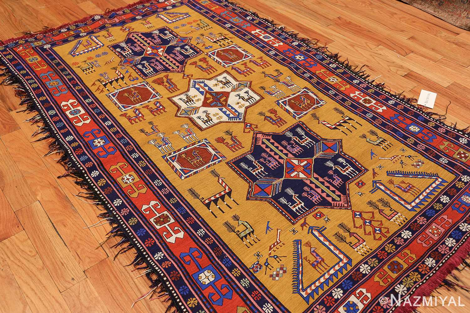 tribal geometric soumak caucasian kilim rug 49607 side Nazmiyal