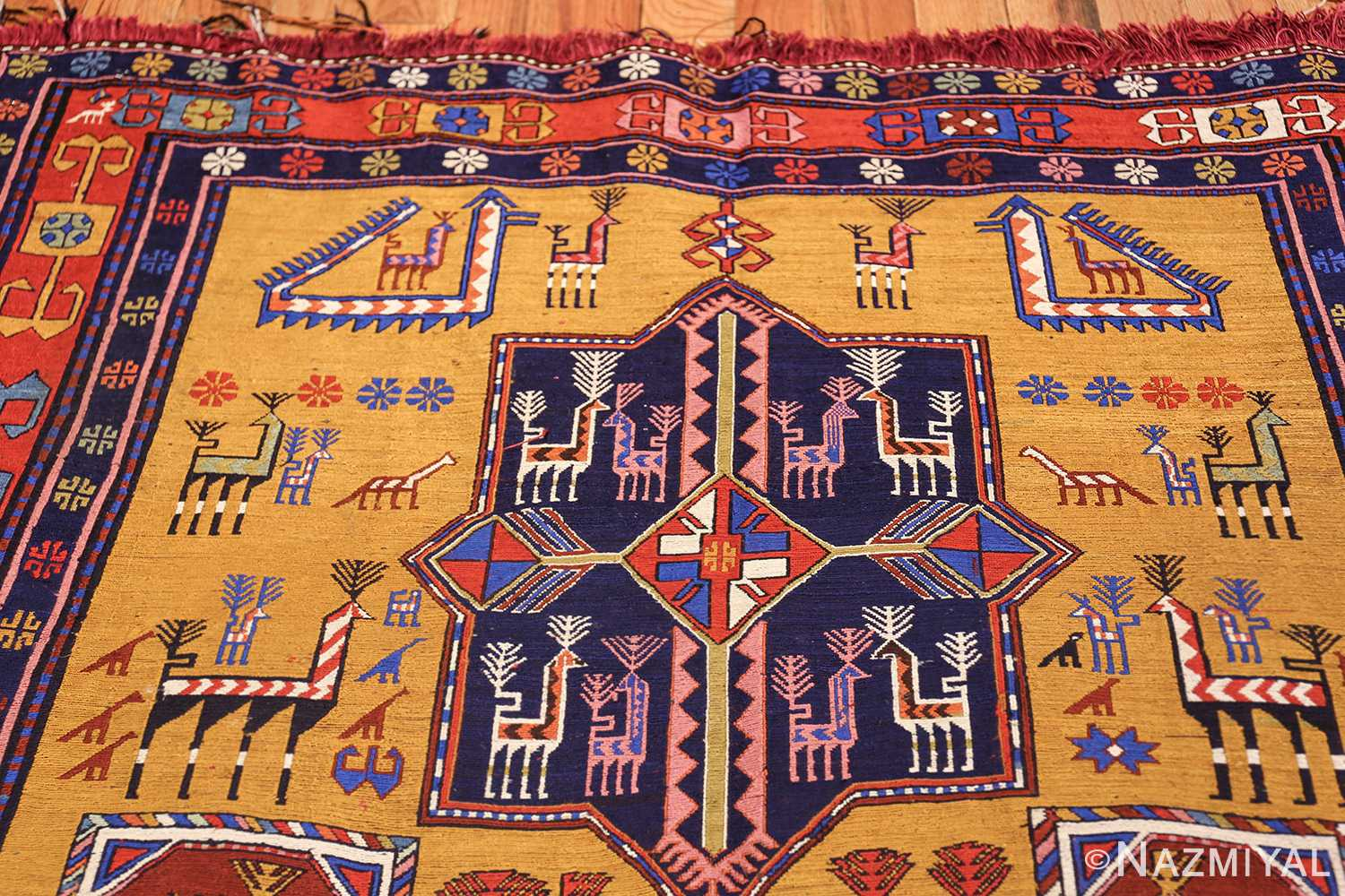 tribal geometric soumak caucasian kilim rug 49607 top Nazmiyal