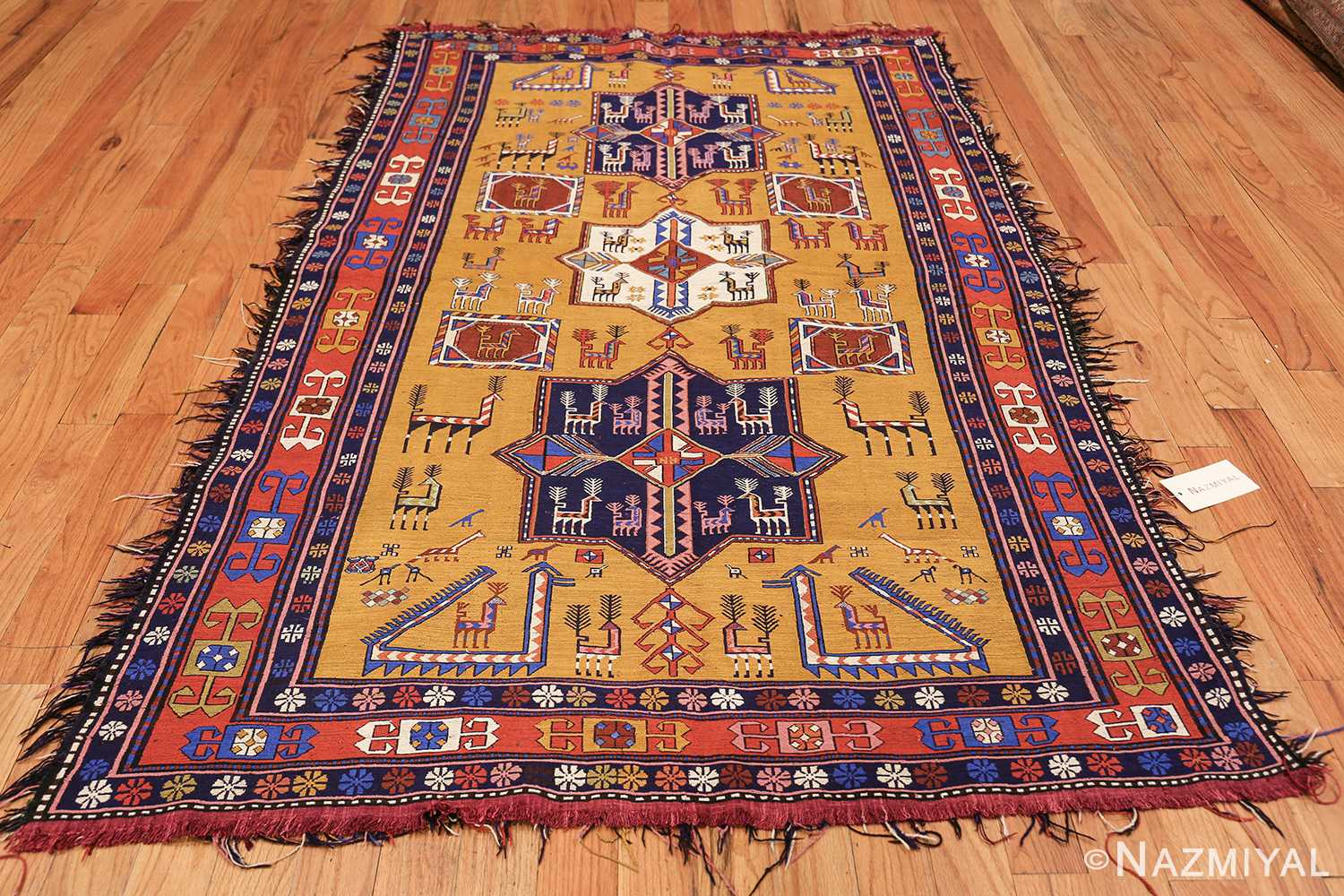 tribal geometric soumak caucasian kilim rug 49607 whole Nazmiyal