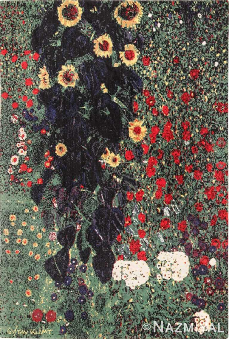 Vintage Scandinavian Farm Garden With Sunflowers Rug by Gustav Klimt 49661 by Nazmiyal
