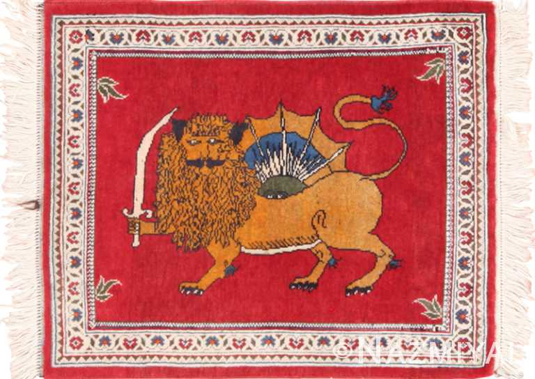 Small Scatter Size Lion and Sun Design Vintage Persian Tabriz Rug 49625 by Nazmiyal