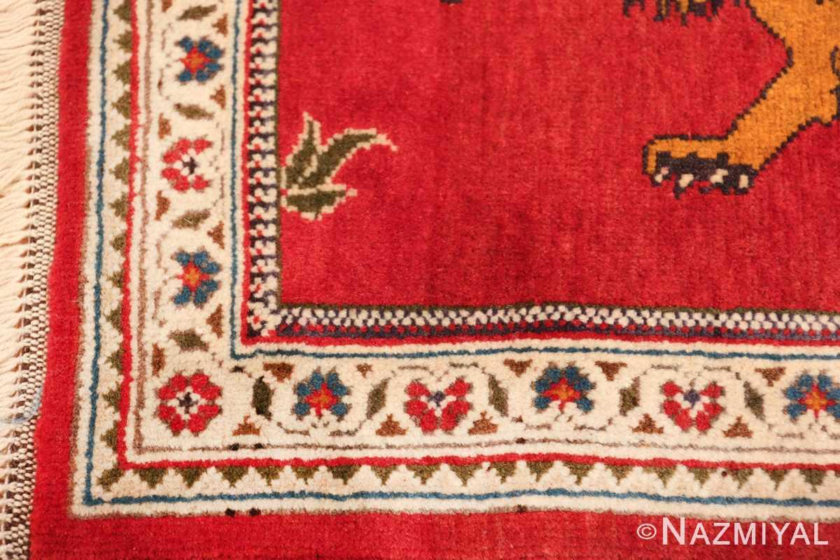 vintage lion designed tabriz persian rug 49625 corner Nazmiyal
