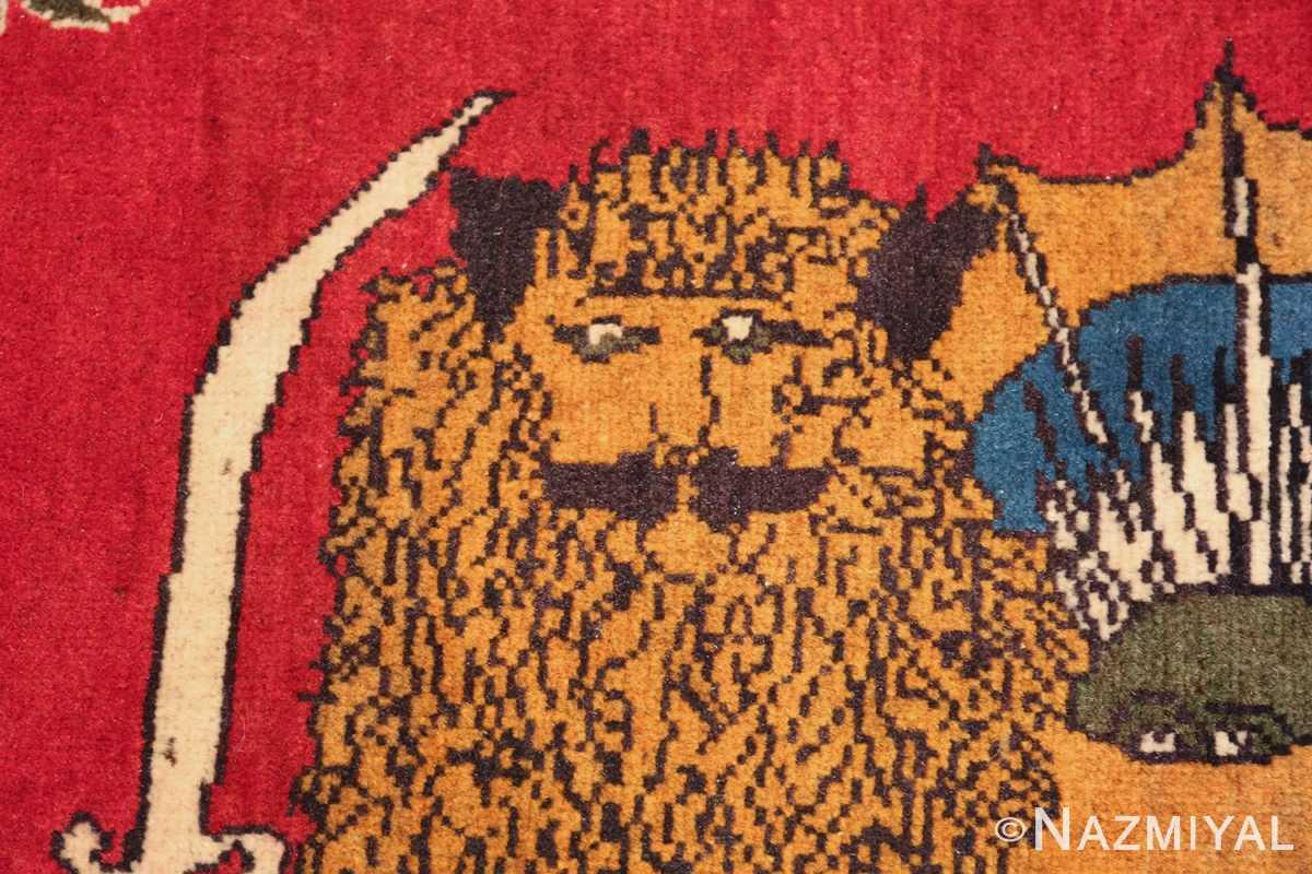vintage lion designed tabriz persian rug 49625 face Nazmiyal
